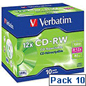 Verbatim CD RW Disk Cased 700Mb Pack 10
