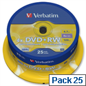 Verbatim DVD+RW Rewritable Disk Cased 1x-4x Speed 120min 4.7Gb 43489 Pack 25