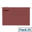 Esselte Pendaflex Foolscap Red Suspension File V-Base 15mm to Square 30mm Pack 25