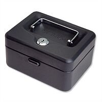 Mini Cash Box 6 Inch Key Lockable 152mm Black 2 Keys Removable Coin Tray 6 Coin Compartments