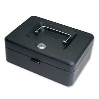 Compact Cash Box – 8 Inch with Simple Latch Key, Lockable, 6 Coin Compartments Tray 200mm, Black, 2 Keys, Scratch-Resistant & recessed Metal (WN0710)