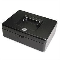 Cash Box 10 Inch Key Lockable 250mm Black 2 Keys Removable Coin Tray