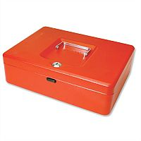 Cash Box Large 12 Inch Key Lockable 300mm Red 2 Keys Removable Coin Tray