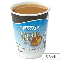 Nescafe & Go Gold Blend Decaff White Coffee Foil Sealed Cups for Drinks Machine A02783 Pack 8