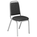 Banquet Stacking Chair Upholstered Charcoal with Silver Frame Trexus