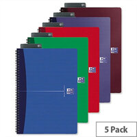 Oxford Office A5 Notebook Wirebound Soft Cover Assorted Pack 5