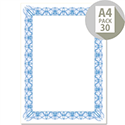 Computer Craft A4 Blue Bordered Certificate Papers With Foil Seals 90gsm Pack 30