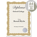 Computer Craft A4 Bronze Wave Border Certificate Papers With Foil Seals 90gsm Pack 30