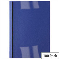GBC IB451010 Royal Blue Thermal Binding Covers Front Clear Back Leathergrain A4 3mm Pack 100