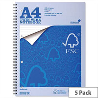 Silvine A4 Notebook FSC Paper Perforated 160 pages Pack 5