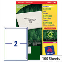 Avery LR7168-100 Laser Labels 2 per Sheet 199.6 x 143.5mm 200 Labels