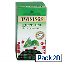 Twinings Infusion Tea Bags Green Tea and Cranberry Pack 20