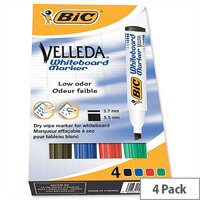 Bic Velleda Whiteboard Marker Chisel Tip Assorted Colours Pack 4