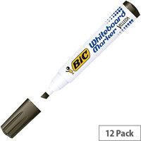 Bic Velleda 1751 Chisel Tip Black Whiteboard Markers (12 Pack)