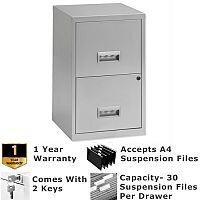 Pierre Henry A4 2 Drawer Steel Filing Cabinet Lockable Silver