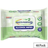 Germisept Multipurpose 75% Alcohol Wipes 50 Wipes Per Pack (48 Pack)