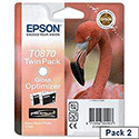 Epson T0870 Gloss Optimiser Ink Cartridge Twin Pack Flamingo Series