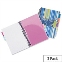 Pukka Pad A4 Project Book Plastic Ruled 5-Divider 250 Pages Assorted Pack 3