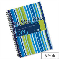 Pukka Pad A5 Jotta Notebook Wirebound Punched Ruled 200pp Assorted JP021 3/4 Pack 3