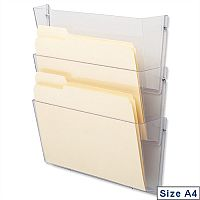 Literature & Brochure Holder Wall Pockets A4 Landscape Crystal Pack 3 Deflecto