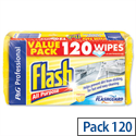 Flash All Purpose Cleaning Wipes Lemon Fragrance VPGFAWL Pack 120