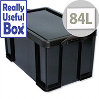 84 Litre Storage Box Plastic Recycled Stackable Black Really Useful