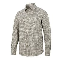 Snickers 8507 AllroundWork Comfort Checked LS Shirt Size XS Khaki/Black