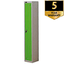 1 Door Locker Extra Depth Silver Green Trexus