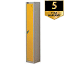 Personal Locker Extra Depth Silver Yellow 1 Door Trexus