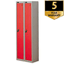 1 Door Locker Nest of 2 Silver Red Trexus