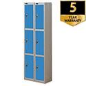 Probe 3 Door Extra Deep Locker Nest of 2 Silver Body Blue Doors By Lion Steel