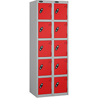 Probe 5 Door Extra Deep Locker Nest of 2 Silver Body Red Doors By Lion Steel
