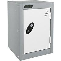 Probe Quarto 1 Door Small Locker Extra Deep ACTIVECOAT 305x460x480mm Silver Body & White Doors
