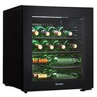 16 Bottle Free-Standing Wine Cooler with Glass Door 45L Black Danby