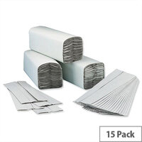 5 Star Paper Hand Towels C-Fold 2-ply Recycled 230x310mm Sleeves 15x 192 Towels Per Sleeve Natural (Total 2880 Sheets)