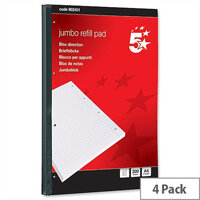 Jumbo A4 Refill Pad Sidebound with Margin 4 Hole Punched 200 Sheets Pack 4 5 Star