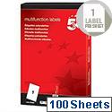 Multipurpose Labels 1 per Sheet 297x210mm (100 Labels)