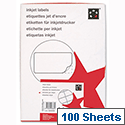 Office Address Labels Inkjet 18 per Sheet 63.5 x 46.6mm White 1800 Labels 5 Star