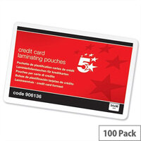 5 Star Credit Card Size Laminating Pouches - Glossy 250 Micron Pack 100 54mm x 86mm. Ideal For Name Badges, Business Cards, Small Documents & More.