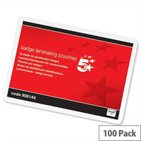 5 Star Laminating Pouches Badge Size 67x97mm Glossy Pack 100