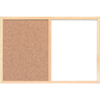 Combination Notice Board Cork and Drywipe W900 x H600mm 5 Star