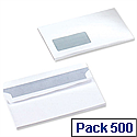 5 Star Office Envelopes Wallet Press Seal Window White DL (Pack 500)