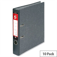 5 Star Lever Arch File 50mm Spine Foolscap Cloudy Grey Pack 10