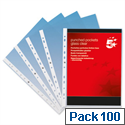 A4 Punched Pockets Plastic Clear Deluxe 80 Micron Pack 100 5 Star
