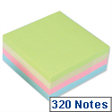 Sticky Notes Cube Pad of 320 Sheets 76x76mm Pastel Rainbow 5 Star