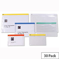 A4 Zip Filing Bags PVC Clear Assorted Pack 30 5 Star