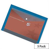 A4 Office Envelope Stud Wallet Plastic Transparent Blue Pack 5 5 Star