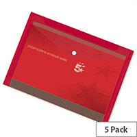 A4 Office Envelope Stud Wallet Plastic Transparent Red Pack 5 5 Star