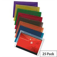 A4 Plastic Envelope Wallet Transparent Assorted Pack 25 5 Star