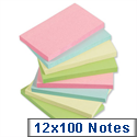 Sticky Notes Pastel Pad of 100 Sheets 76x127mm Assorted Pack 12 5 Star